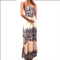 New Gorgeous Bra Dress Halter Casual Lined Long Maxi