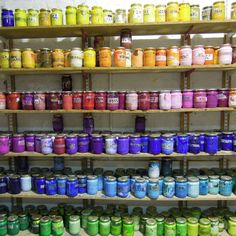 Screen printing ink pots at London Print Services in Greenwich