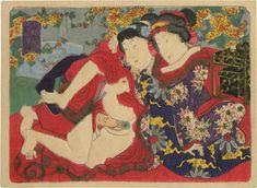 An erotic set of woodblock prints Attributed to Utagawa Kunisada II Tale of Ise at Scholten Japanese Art. Greece Art, Geisha Art, Anime Sensual, Japanese Illustration, Japanese Painting, Japanese Prints, Japan Art, Woodblock Print, Vintage Japanese