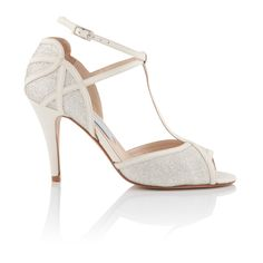 Betty wedding shoes by Charlotte Mills. 'Leather and Glitter T-bar peep toe with heart back' #BridalShoes #BridesmaidShoes #Wedding #Stilettos #Heels #Shoes #VintageShoes