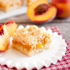 Peach Crumb Bars - peach cobbler meets sugar cookies meets crumb cake to create one incredible bar.