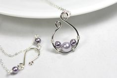 Lavender Pearl Necklace Wire Wrapped Jewelry by JessicaLuuJewelry, $35.00