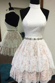 Customized Luscious Party Dresses Short, White Lace Party Dresses, Wedding Dress White, Wedding Dress Lace · HotProm · Online Store Powered by Storenvy Backless Homecoming Dresses, Cute Prom Dresses, Dresses Short, Lace Party Dresses, Short Lace Dress, Beautiful Prom Dresses, Dresses For Teens, Day Dresses, Nice Dresses
