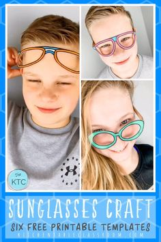 Print, color, and play with these six free printable sunglasses templates. Printable Crafts, Templates Printable Free, Free Printables, Easy Craft Projects, Diy Crafts For Kids, Art For Kids, Craft Stick Crafts, Preschool Crafts, Paper Crafts