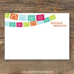 Fiesta or Party Thank You Card - Papel Picado - DIY Printable