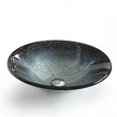 Waschbecken rund glas  Modern Waschbecken Silber Rund Glas Aufsatz Waschschale mit ...