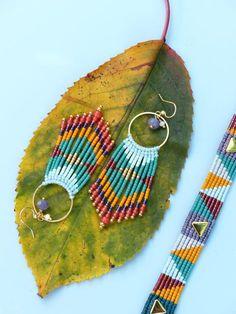 Fall / Autumn colors - Long bohemian earrings made of micro macrame and miyuki delica seed beads. Navajo patterns. Orange mint green and gold. © Natacha Fayard