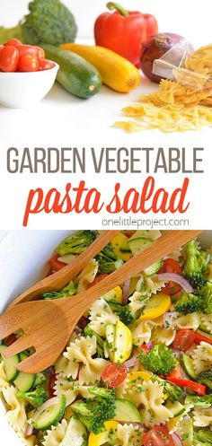 This garden vegetable pasta salad is such a delicious summer recipe! It can be made a day ahead so it's perfect for a pot luck or barbecue. I personally LOVE having a big bowl of pasta salad sitting in the refrigerator all week. It makes such a healthy and EASY side dish to throw on our dinner plates. And in this hot, hot weather, a nice cool pasta salad dish is the perfect addition to almost any summer dinner! Side Dishes Easy, Side Dish Recipes, Lunch Recipes, Dinner Recipes, Cooking Recipes, Salad Dishes, Pasta Salad Recipes, Weight Watchers Pasta, Vegetable Pasta Salads