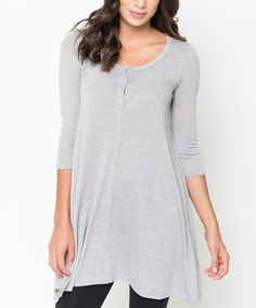 Another great find on #zulily! Heather Grey Button Front Henley Tunic Dress #zulilyfinds