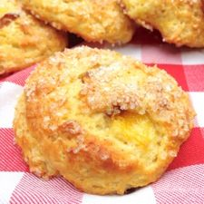 Tender, golden scones studded with peaches and scented with nutmeg.