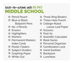 f7ac7aba38f Back to School for Middle School Back To School Shopping, Shopping Lists,  Super Easy