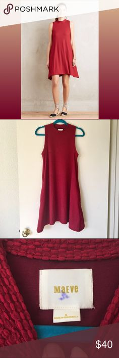"""Maeve Cerise Swing Dress pull over style, machine washable. poly/spandex blend with a rayon slip. a few pulls (see pictures) that are unnoticeable when worn. pair with your favorite booties for an elegant look, or jean jacket and sneakers for a casual, laid back style! 34"""" long, bust measures  17.5"""" Anthropologie Dresses Mini"""