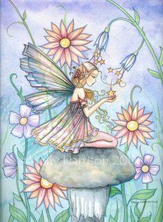 Items similar to Fairy Art - Fairy Print - Garden of Wishes - Flower Fairy Watercolor Illustration Fine Art Giclee Print on Etsy Fairy Land, Fairy Tales, Dragons, Fairy Paintings, Kobold, Beautiful Fairies, Flower Fairies, Watercolor Illustration, Fantasy Art