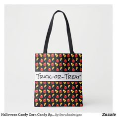 Halloween Candy Corn Candy Apples Trick or Treat Tote Bag