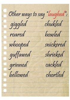"""Other ways to say """"laughed"""" ..... only problem is that there is an incorrect spelling: chuCkled !!!!"""