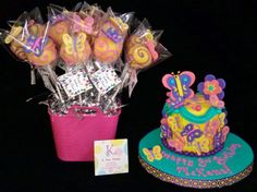 Pink, Purple and Yellow Butterflies Cake & Cake Pops.