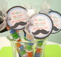 """BAg of skittle or M's - in a clear plastic bag with tag - DIY - Mustache Party Favors """"we'd ask you to stay, but we know you must dash."""""""
