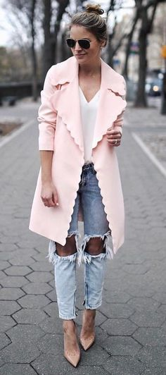 fashionable ootd pink coat + top + ripped jeans