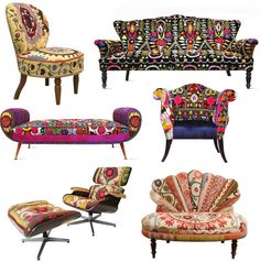Colored upholstered vintage furniture--Love the chair in the lower right hand corner.  Wouldn't it look beautiful covered in something like batik style fabric!