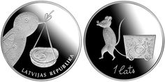 Latvian Baby Coin, 1 lats, 22.00 g of .925 silver, issued by the Bank of Latvia in 2013. On the Latvian Baby Coin a bird holds a cradle with a baby in it, and a mouse on the reverse of the coin pulling a chest full of sweet dreams.