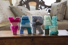 Y-A-R-N Wrapped Letters Free DIY Craft Pattern from Red Heart Yarns