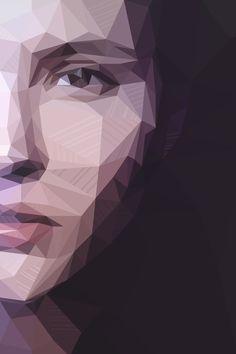 digital art  photoshop illustration #polygon #polygonal #low poly portrait geometric