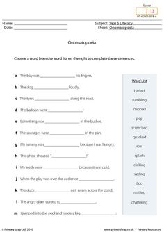 Worksheets Onomatopoeia Worksheet sentences and worksheets on pinterest onomatopoeia worksheet