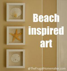 coastal inspired decor | Beach inspired art {Sea Shell art} - The Frugal Homemaker | The Frugal ...