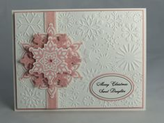 Stampin Up Festive Flurry Handmade Greeting Card: Merry Christmas Card / Warmest Wishes, Happy Holidays, Snowflake, Daughter, Pink Christian