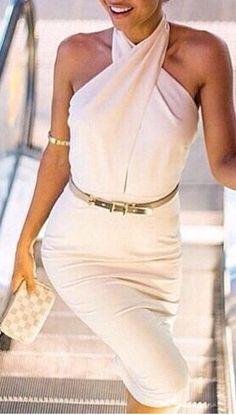 Classy white halter neck dress