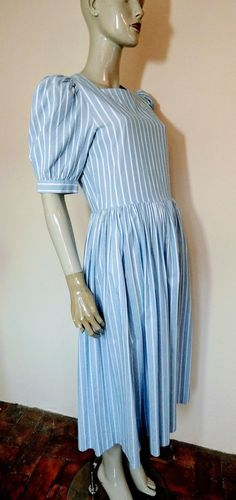 LAURA ASHLEY Blue & White Striped Dress, S 14 Pink Floral Dress, Striped Dress, Laura Ashley Vintage Dress, Ashley Blue, Dress Up, High Neck Dress, Preppy Look, Candy Stripes, Fitted Bodice