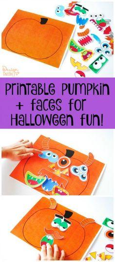 Printable Pumpkin + Faces for Halloween Fun!   halloween printables   halloween fun for kids   kid friendly halloween activities   halloween activities for kids   halloween crafts for kids   free halloween printables   free printables    Design Dazzle