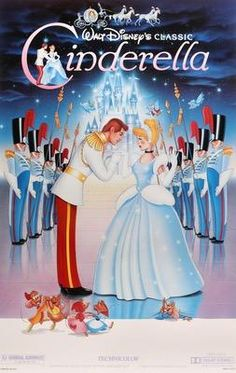 """This is the movie poster for Disney's """"Cinderella"""". In the film, Cinderella is forbidden from leaving her home to go to the ball, in a similar fashion to Thisbe being forbidden from marrying Pyramus. Disney Cinderella Movie, Film Disney, Arte Disney, Disney Magic, Cinderella Original, Old Disney Movies, Disney Art, Disney Movie Posters, Original Movie Posters"""
