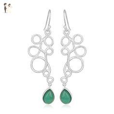 Natural Green Onyx Gemstone Jewelry 925 Silver Handmade Earrings - Wedding earings (*Amazon Partner-Link)