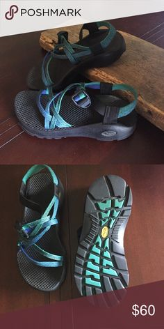 Chaco sandals women's size 7 Size 7 women's double strap Chaco sandals in excellent condition. Straps are blue/green. Chacos Shoes Sandals