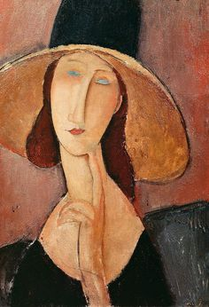 Modigliani, Amedeo | 'Portrait of Jeanne Hebuterne in a large hat' | c.1918-19 | oil on canvas