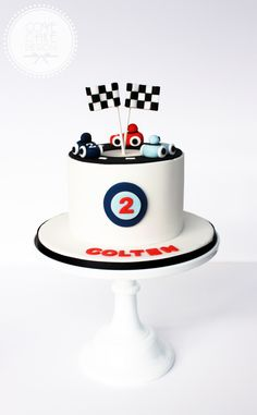 2nd Birthday Party For Boys, 2nd Birthday Party Themes, Race Car Birthday, Race Car Party, Baby Birthday Cakes, Cars Birthday Parties, Car Cakes For Boys, Racing Cake, Cake Decorating For Kids