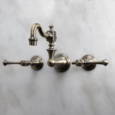 Antique Inspired Kitchen Faucet Wall Mount Antique Brass Finish