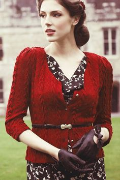 Fever - 1940s Bray Cardigan in Red