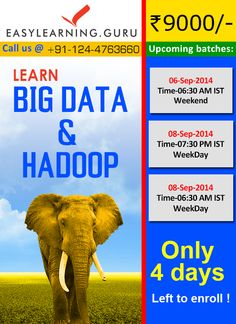 Limited seats are available to learn  #Bigdata and #hadoop from EasyLearning Guru Register now  :http://goo.gl/t3Ipj7