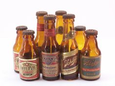 Vintage Brown Glass Miniature Beer Bottle Salt & Pepper Shakers Fort Pitt Blatz Schlitz Budweiser, $14.99