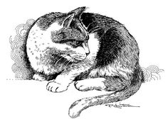 Pen and Ink Art | Art: Alert Kitty by Artist Patricia Lee Christensen