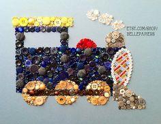Button Art Choo Choo Train! This custom piece matches Pottery Barn Kids' Ryder Bedding! Inside the steam clouds you'll find a little boy's initials, which is customizable as well! #choochootrain #train #buttonart #buttons #vintagebuttons #swarovski #potterybarnkids #ryderbedding #boysdecor #wallart #handmade #diy #custommade #crafts #homedecor #wallart #tren