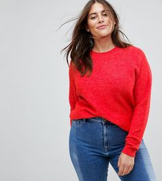 ASOS CURVE Sweater In Fluffy Yarn With Crew Neck - Red