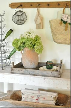 farmhouse, French farmhouse, market basket, rustic decor, summer decor, home decor, vintage hooks, bottle drying rack, Becky Cunningham home, vintage country farmhouse