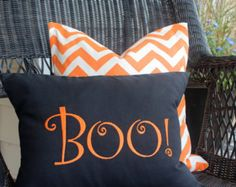 Halloween Decor, Boo pillow, decorative pillow, Fall Decor, throw pillow, fall pillow, orange decor, holiday decor, Halloween pillow