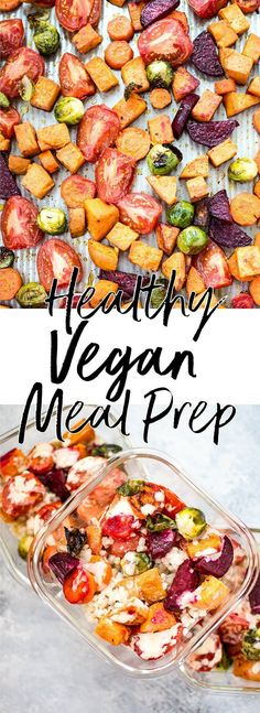 This roasted vegetable salad with barley doubles as a vegan meal prep idea! Topped with a delicious maple tahini dressing, it makes a healthy and satisfying light meal. #mealprep #saladrecipe #roastedvegetables #vegan