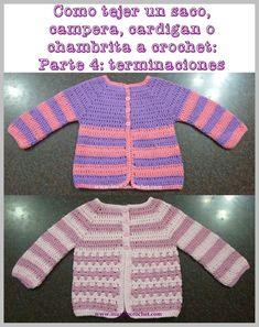 Cómo tejer un saco, campera, cardigan o chambrita a crochet o ganchillo paso a paso: 4º Parte – Terminaciones