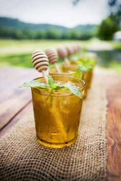 Honey Dippers as drink stirrers