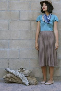 a8fe3e86a66f Outfit Details: Striped silk scarf: thrifted Blouse: Forever 21 from around  5 years ago Taupe skinny pleat skirt: thrifted Felt.